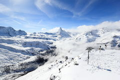 View of the Matterhorn from the Rothorn summit station. Swiss Alps, Valais, Switzerland. The Unterrothon or simply Rothorn is a mountain of the Swiss Pennine royalty free stock images