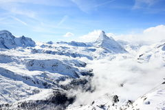 View of the Matterhorn from the Rothorn summit station. Swiss Alps, Valais, Switzerland. The Unterrothon or simply Rothorn is a mountain of the Swiss Pennine stock photos