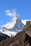 View of the Matterhorn from Zermatt. Swiss Alps, Valais. Zermatt is a municipality in the district of Visp in the German-speaking section of the canton of royalty free stock images