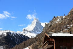View of the Matterhorn from Zermatt. Swiss Alps, Valais. Zermatt is a municipality in the district of Visp in the German-speaking section of the canton of stock photo