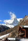View of the Matterhorn from Zermatt. Swiss Alps, Valais. Zermatt is a municipality in the district of Visp in the German-speaking section of the canton of royalty free stock photos