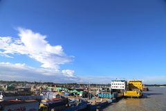View of Mawa Ferry Terminal beside Padma river Dhaka district of Bangladesh Royalty Free Stock Images