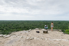 View from a Mayan pyramid at coba,cancun,mexico Royalty Free Stock Image