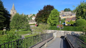 View from McKeever Bridge towards Holy Trinity Church and Tory neighborhood in Bradford on Avon, UK. View from McKeever Bridge towards Holy Trinity Church and royalty free stock images