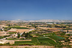 The view from the Mdina to the countryside surrounding the old c Stock Images