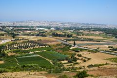 View from the Mdina to the countryside surrounding the old capit. View from the Mdina defensive wall to the countryside with vineyards and gardens surrounding Royalty Free Stock Photography