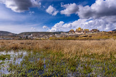 The view and meadow in front of the temple. The view and meadow in front of the temple, Songzan Lin Stock Image