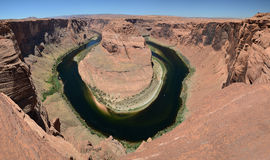 Panoramic view of horseshoe bend. View on meander of Colorado River at Horseshoe Bend, Arizona, USA Stock Photo