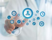 Medecine and general healthcare icon displayed on a technology i. View of Medecine and general healthcare icon displayed on a technology interface Royalty Free Stock Photography