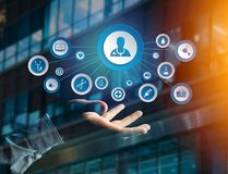 Medecine and general healthcare icon displayed on a technology i. View of Medecine and general healthcare icon displayed on a technology interface Stock Image