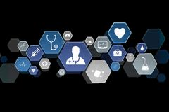 Medecine and general healthcare icon displayed on a technology i. View of a Medecine and general healthcare icon displayed on a technology interface Stock Photography