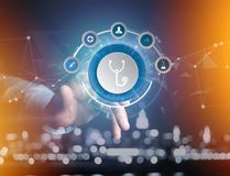 Medecine and general healthcare icon displayed on a technology i. View of a Medecine and general healthcare icon displayed on a technology interface Stock Image