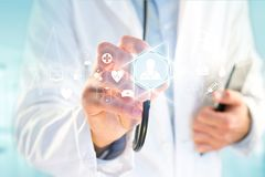 Medecine and general healthcare icon displayed on a technology m. VIew of a Medecine and general healthcare icon displayed on a technology medical interace Royalty Free Stock Images