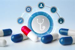 Medecine and general healthcare icon displayed on a technology m. VIew of a Medecine and general healthcare icon displayed on a technology medical interace Stock Photo