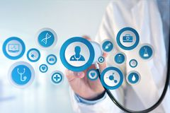 Medecine and general healthcare icon displayed on a technology m. VIew of a Medecine and general healthcare icon displayed on a technology medical interace Stock Images