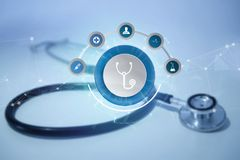 Medecine and general healthcare icon displayed on a technology m. VIew of a Medecine and general healthcare icon displayed on a technology medical interace Royalty Free Stock Photo