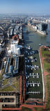 View on Media Harbour in Dusseldorf from TV tower Stock Photos