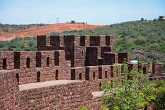 Medieval castle battlements, Silves, Portugal. View of the Medieval battlements and one of the towers inside the castle, Silves, Portugal, Europe Royalty Free Stock Photography