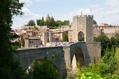 View of medieval bridge in Besalu. Catalonia Stock Images