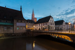 View of medieval bridge Ponts Couverts and Cathedral of Our Lady Royalty Free Stock Photography