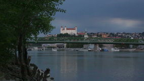 View of the medieval castle on a hill on a summer evening, Bratislava stock footage