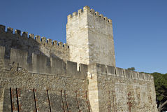 View of the medieval castle in Lisbon. stock images