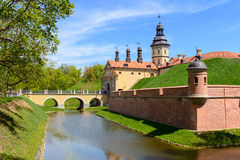 View on medieval castle Nesvizh and moat with water. Belarus Stock Image