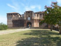 View of the medieval castle of Soncino in the province of Cremon. A - Lombardy - Italy Stock Photo