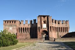 The Castle of Soncino - Cremona - Italy. View of the medieval castle of Soncino in the province of Cremona - Italy Royalty Free Stock Photo