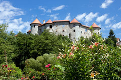 View on medieval castle in Zuzemberk village, Lower Carniola - Slovenia. Zuzemberk lies in the southern part of Carniola on the left bank of the Krka River and royalty free stock images