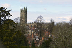 View at the Medieval Cathedral and old town of Warwick, England, United Kingdom. Panoramic View at the Medieval Cathedral and old town of Warwick, England Royalty Free Stock Images