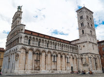View of medieval cathedral San Michele. Lucca,Tuscany, Italy. royalty free stock images
