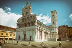 View of medieval cathedral San Michele. Lucca,Tuscany, Italy. Stock Photos