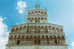 View of medieval cathedral San Michele. Lucca,Tuscany, Italy. Royalty Free Stock Photo