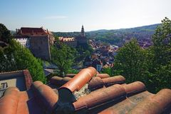 View of medieval Cesky Krumlov castle and historical center of the city royalty free stock photos