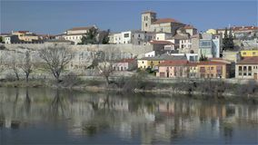 View of the medieval city of Zamora stock footage