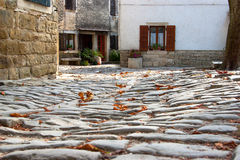 View of the medieval cobblestone streets. Unique view of the paving stones. Croatia Royalty Free Stock Photo