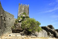Sortelha – Romanesque Medieval Fortress. View of the medieval fortress built in early 13th century by the Portuguese King Sancho II in Sortelha, Portugal Stock Photos