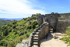Sortelha – Romanesque Medieval Fortress. View of the medieval fortress built in early 13th century by the Portuguese King Sancho II in Sortelha, Portugal Stock Photography