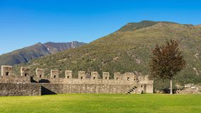 View from the medieval fortress Castelgrande in the city of Bell stock photos