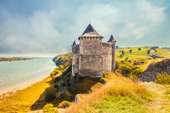 View of medieval half-ruined castle in Hotin. Ukraine Stock Images