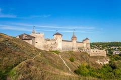 View of medieval half-ruined castle in Kamenetz-Podolsk, Ukraine Royalty Free Stock Image