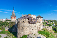 View of medieval half-ruined castle in Kamenetz-Podolsk, Ukraine Stock Image