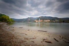 View of the medieval monastery Duernstein on the river Danube. Wachau valley, Lower Austria Royalty Free Stock Images