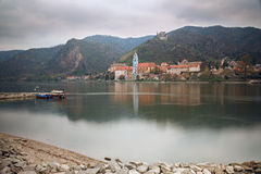 View of the medieval monastery Duernstein on the river Danube. Wachau valley, Lower Austria Stock Photos