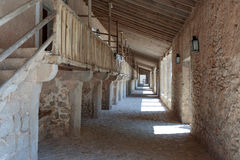 View of the medieval monastery inside. View of the medieval monastery Lluc inside Royalty Free Stock Photo
