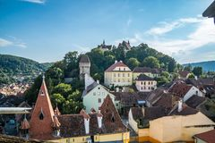 View of medieval old town center Sighisoara Romania. stock photo