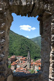 View of medieval Pigna village from a stone window, Imperia Province Stock Photo