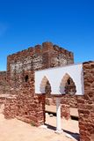 Palace of balconies inside Silves castle, Portugal. View of the Medieval ruins inside the castle showing the vaulted Moorish windows of the palace of balconies Stock Images