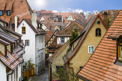 View of the medieval streets. Rothenburg, Bavaria, Germany Royalty Free Stock Photo